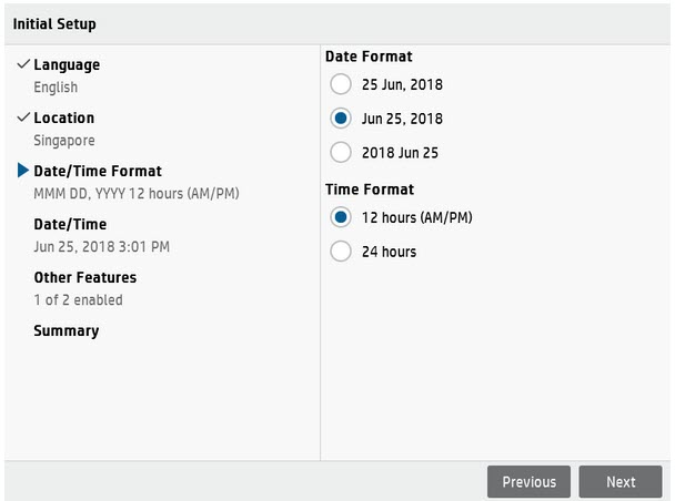 initial setup-date and time format setup