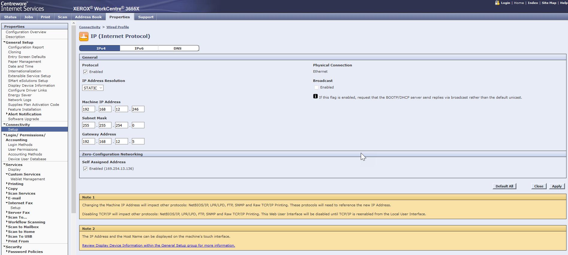IPv4 settings for Xerox